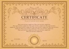 Certificate or coupon template. With vintage border Stock Photo