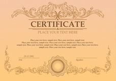 Certificate or coupon template. With vintage border Royalty Free Stock Photos