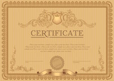 Certificate or coupon template. With vintage border Stock Photography