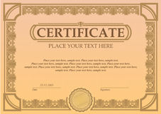 Certificate or coupon template. With vintage border Stock Image