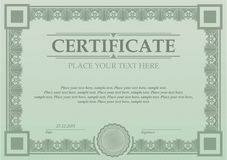 Certificate or coupon template. With vintage border Royalty Free Stock Images