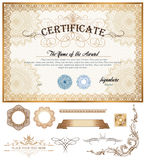 Certificate or coupon template with vintage border Royalty Free Stock Image