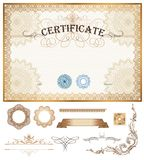 Certificate or coupon template with vintage border Stock Photo