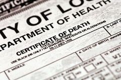 Certificate of Death. Death Certificate Royalty Free Stock Photos