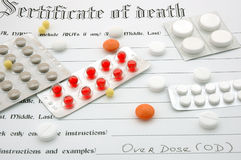 Certificate of death and pills. Certificate of death with cause of death Overdose and many pills (drugs stock photos