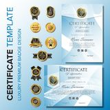 Certificate design with badge background template stock illustration