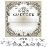 Certificate design with calligraphic elements in vintage style Royalty Free Stock Photography