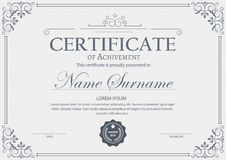Formal Gift Certificate template. Retro design. With guilloche pattern. stock illustration