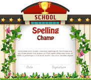 Certificate design with school building background Royalty Free Stock Image