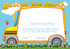 Certificate design with school bus background Royalty Free Stock Photos
