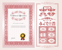 Certificate Design Template. With detailed border and additional ornament elements Stock Images