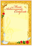 Certificate design template. Empty certificate template with vintage frame boredr, ribbon elements and decorative detail around central text area Stock Photography