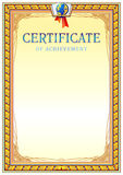 Certificate design template. Empty certificate template with vintage frame boredr, ribbon elements and decorative detail around central text area Stock Photo