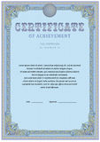 Certificate design template. Empty certificate template with vintage frame boredr, ribbon elements and decorative detail around central text area Stock Photos