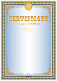 Certificate design template. Empty certificate template with vintage frame boredr, ribbon elements and decorative detail around central text area Royalty Free Stock Photography