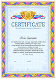 Certificate design template. Empty certificate template with vintage frame boredr, ribbon elements and decorative detail around central text area Stock Image
