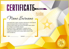 Certificate design template. Empty certificate template with vintage frame boredr, ribbon elements and decorative detail around central text area Stock Images