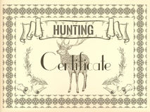 Certificate design in vintage style with deer Royalty Free Stock Photography