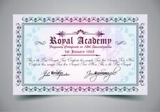 Certificate for differrent with a lot of details and filigrans. Royalty Free Stock Photo