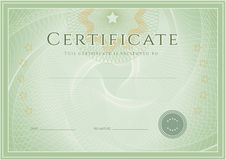 Certificate / Diploma award template. Grunge patte. Certificate, Diploma of completion (design template, background) with guilloche pattern (watermark), rosette