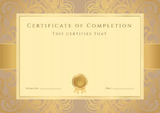 Free Certificate / Diploma Award Template. Pattern Royalty Free Stock Photos - 32817888