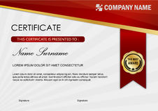 Certificate / Diploma Award Template, Red Dark Royalty Free Stock Photos