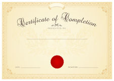 Certificate / Diploma background template. Floral stock illustration