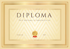 Certificate / Diploma background (template). Frame. Certificate, Diploma of completion (design template, background) with abstract pattern, gold border (frame) stock illustration