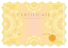 Certificate / diploma background. Yellow border Stock Photos