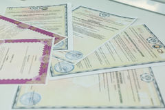 Certificate and diploma. Certificate of achievement. Stock Photos