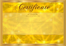 Certificate, Diploma of completion with abstract gold background, sparkling twinkling stars. Cosmic shiny galaxy (atmosphere) Stock Photos