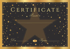 Certificate, Diploma of completion black background with gold frame and stars Royalty Free Stock Photography
