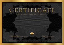 Certificate, Diploma of completion (Black design template, background) with guilloche pattern Stock Photography