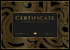 Certificate, Diploma of completion (Black design template, background) with guilloche pattern Stock Image