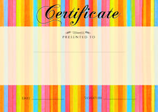 Certificate, Diploma of completion with colorful stripy (stripes border) background. Vector watercolor with rainbow line pattern Stock Photo