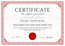 Certificate, Diploma of completion design template, white background with Frame, Border Royalty Free Stock Photo