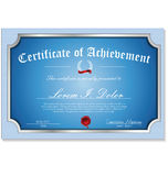 Certificate, Diploma of completion. Retro blue design Stock Photos