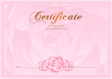 Certificate, Diploma of completion (Rose design template, flower background) with floral, pattern, border, frame Royalty Free Stock Photos