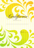 Certificate, Diploma of completion with scroll floral, pattern, frame Royalty Free Stock Images