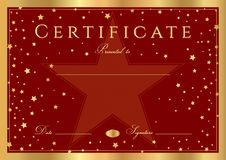 Certificate, Diploma of completion stars design template, red background. Certificate, Diploma of completion abstract design template, red background with gold Stock Images