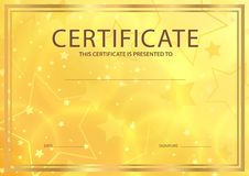 Certificate, Diploma of completion template with stars Stock Images