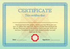Certificate or Diploma of completion template. Vector. Stock Photo