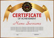 Certificate or diploma. Elegant design with golden ribbon. Winni Royalty Free Stock Images