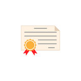 Certificate diploma flat icon, education school Royalty Free Stock Photography