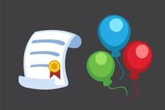 Certificate diploma icon vector illustration. Paper success education graduate school achievement design. University Stock Image