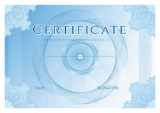Free Certificate, Diploma Of Completion Design Template, Background With Blue Guilloche Pattern Watermark, Frame Stock Photos - 97227673