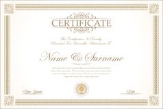 Certificate or diploma retro template. Vector Royalty Free Stock Photo