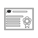 Certificate diploma school icon thin line Royalty Free Stock Photography
