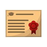 Certificate diploma school icon Stock Images