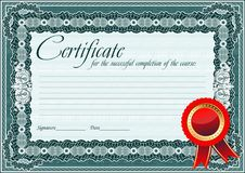 Certificate, Diploma template. Award pattern. stock photography